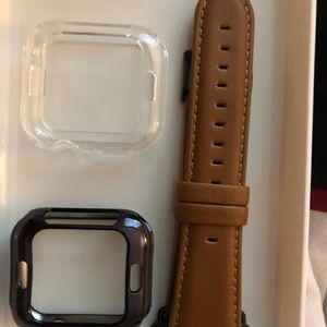 Leather Band for Apple Watch Band With case